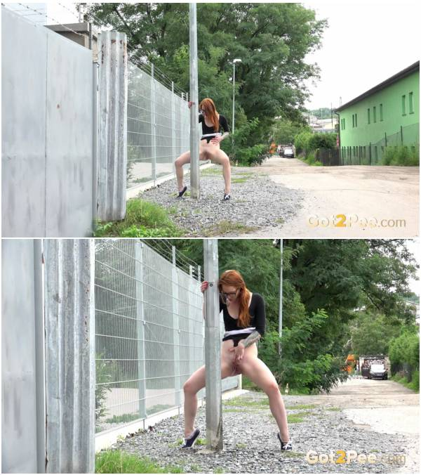 Got2Pee 17 09 21 Teen Girl Redhead in Glasses Pissing Outdoors 1080p
